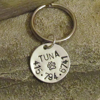 Personalized Pet Id tag - Pet name tag - Cat  Collar Tag - Key Fob