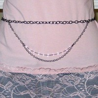 Gunmetal and Pink Belly Chain for Body Belly Jewelry or Bellydance