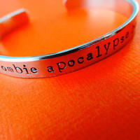 Zombie Apocalypse Buddy Bracelet - Personalized Bracelet - Skinny 1/4 cuff