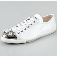 Miu Miu Jeweled-Toe Sneaker