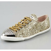 Miu Miu Glittered Stud-Toe Sneaker