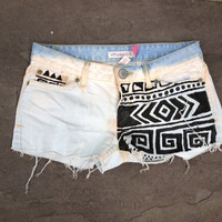 Tribal Print Bleach Dipped Jean Shorts