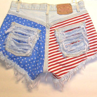 Vintage Levis Denim Shorts Stars n Stripes  with Studs Waist 28   inch