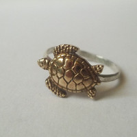Gold Turtle Ring, Hammered Sterling Silver Ring, Animal Jewelry