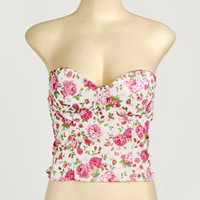 Pink Floral Roses Strapless Crop Pad Bustier Bra Corset Bralet Bandeau Top S