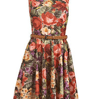 Red Rose Tapestry Print Skater Dress