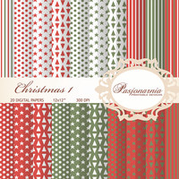 Christmas 1 - 20 Digital papers set 12x12 polka dots, stripes, stars, christmas trees