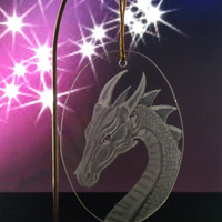 holidays decor Fantasy Dragon ornament , hand engraved glass Christmas ornament , holiday ornament , home decor, suncatcher