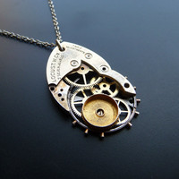 Clockwork Pendant Rocket Recycled Mechanical by amechanicalmind