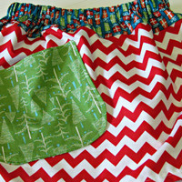Holiday Skirt in Red Chevron and Green