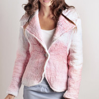 Ombre Pink, Nuno felted Jacket fitted in merino wool with hand dyed cotton woven fabric, Ombre Pastel Fashion