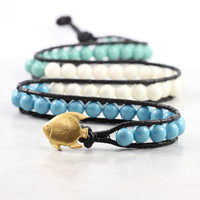 Turquoise Mint White Beaded Wrap Bracelet Black Leather Jewelry Tropical Fish Beach Fashion Triple Wrap Blue Jade Green Ivory