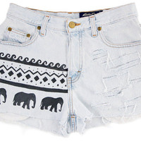 ripped aztec ethnic elephant shorts vintage