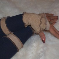 Arm Warmers in Navy Blue and Tan Knit Sweater