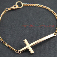 golden cross bracelet, cross bracelet, bracelet