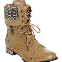 Leopard Fold Combat Boot