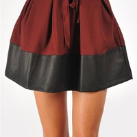 Lucy Leather Trim Skirt - Wine at Necessary Clothing
