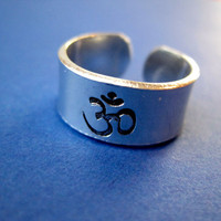 Personalized Stamped Ring - Om -  3/8 inch, Aluminum, Adjustable