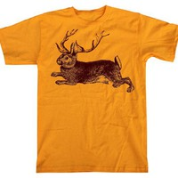 Unisex JACKALOPE Tshirt gold animal t shirt - small, medium, large, xl, xxl (gold) MENS