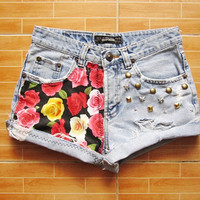 Make To Order - Vintage High Waist Hipster Light Blue Jeans Roses Prints Gold Pyramid Silver Star Brass Circle Studded Cut Off Shorts