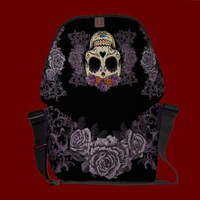 Vintage Skull and Roses Rickshaw Messenger Bag from Zazzle.com