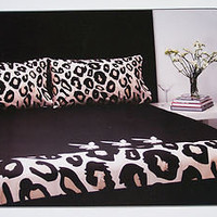 Playboy Bunny Black Leopard Reversible Queen Bed Quilt Cover Set New