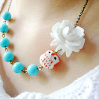 Gift,Owl Necklace,Owl Jewelry,Aqua Jewelry,Flower Necklace,Bridesmaid Necklace,White Flower (Free matching earrings)