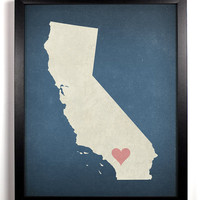 State Love California Print, Giclee, Art Print 8 x 10
