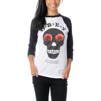 Obey Girls Sinner White &amp; Black Baseball Tee Shirt