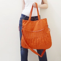 Christmas Sale - Orange Canvas WomenShoulder bag, Crossbody Messenger bag, Tote, Diapers Bag, School bag, Handbag - Kangaroo Shoulder Bag