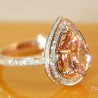 The Pear Alencon lace Sparkler  Morganite by TheVintageGoldsmith
