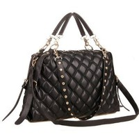 Amazon.com: MIZU Black Trendy Diamond Quilted Versatile Studded Straps Office Tote Hobo Top Double Handle Satchel Handbag Purse Shoulder Bag: Clothing