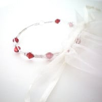 red wire wrapped bangle bracelet
