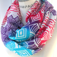 Tribal Print Women's Scarf FREE SHIPPING Gift for Best Friend Sister Mom Infinity Scarf Loop Scarf Super Lightweight Cotton Scarf- By PIYOYO