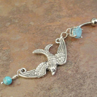Swooping Bird Sparrow Belly Button Ring with Turquoise