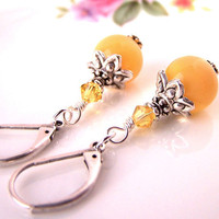 Yellow Gemstone Earrings, Agate Stones, Golden Yellow Earrings, Dangle, Silver Leverback, Wedding Anniversary