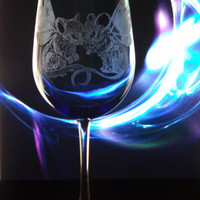 Mouse fairy blue wine glass, cobalt blue and clear goblet , fantasy fairy engraved