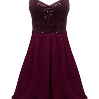 Wine Skater Dress with Sequin Top & Layered Chiffon Skirt