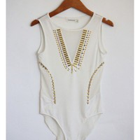 Studded White Mesh Bodysuit