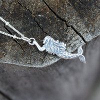 Mermaid necklace - sterling silver mermaid pendant . modern sterling silver satellite chain . nautical fashion . simple charm jewelry