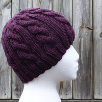 Plum Purple Cable Knit Hat - Womens Beanie - Acrylic Yarn