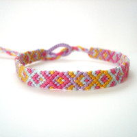 Geometric Woven Bracelet - Pink, Ice Blue, Yellow, and Light Purple