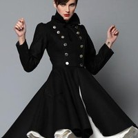 Black Coat - Olga Coat by Red Doll | UsTrendy