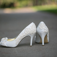 Wedding Shoes - Ivory Bridal Shoes with Ivory Lace. US Size 10