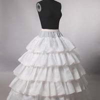 Wedding Dress Petticoat Crinoline Underskirt Hoopless Floor-length Petticoat Long Skirt White Ivory Available Lycra Waist