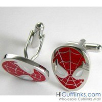 Red Spiderman Cufflinks - Superheros - Novelty Cufflinks