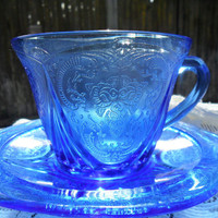 Vintage ROYAL LACE COBALT Depression Glass Tea Cup Saucer by Hazel Atlas