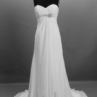 A-line/ Princess Strapless Cathedral Train Chiffon Over Satin Wedding Dress