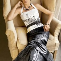 Halter Beaded Taffeta Satin Evening Dress - US&amp;#36;215.99 - Goldwo.com