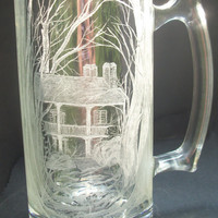 "Hand Engraved Glass Mug ""summe.. on Luulla"